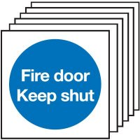 Fire Door Keep Shut Signs (No Symbol) - 6 Pack