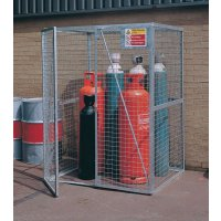 Iron Lock-Up Cylinder Storage Cage with Retaining Chain and Warning Sign