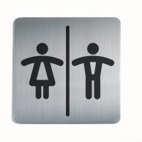 Stainless Steel Unisex Toilets Picto Square Sign
