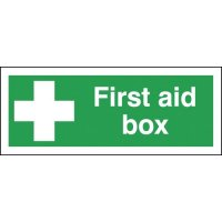 UK compliant, high visibility first aid box signs