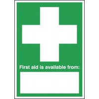 High gloss first aid table-top sign