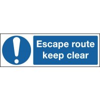 Escape Route Keep Clear Signs