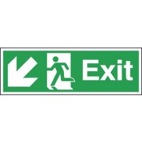 Exit (Arrow Diagonal Left & Down) Signs