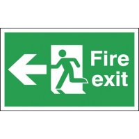Essential Hanging Double-Sided Fire Exit Signs With Left-Pointing Arrow