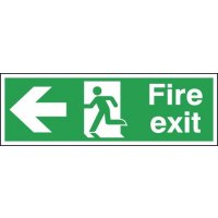 Durable 'Fire Exit' Running Man Arrow Left Health & Safety Sign