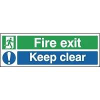 High visibility fire exit keep clear signs