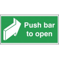 Essential 'push bar to open' fire door signs