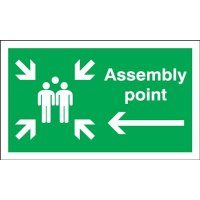 Assembly Point (Group Symbol & Arrow Left) Signs