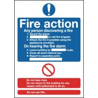 Free-standing tabletop fire action sign with high gloss finish