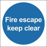 Fire Escape Keep Clear Polycarbonate Signs
