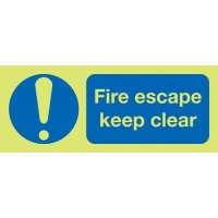 'Fire Escape – Keep Clear' Glow-in-the-Dark Sign with Warning Symbol