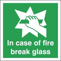 Vital Fire Safety Signs With 'In Case Of Fire Break Glass' Message