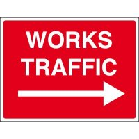Weatherproof 'works traffic' site sign with right arrow