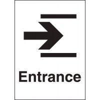 Rigid plastic 'Entrance' arrow right metal-look sign