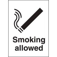 Stylish Metal-Look Plastic 'Smoking Allowed' Sign