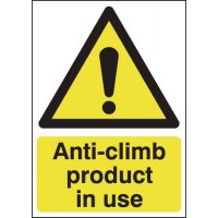 Anti-Climb Product In Use Sign