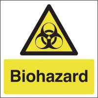 Bold, self-adhesive biohazard signs