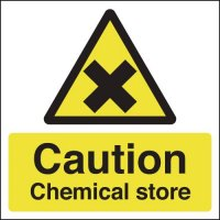 Easy to Read Caution Chemical Store Signs