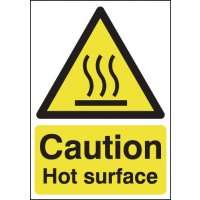 Highly visible 'caution – hot surface' sign in rigid plastic or vinyl