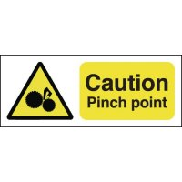 Clear and durable caution pinch point signs