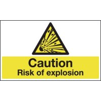 Caution risk of explosion plastic and vinyl hazard safety signs