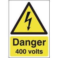 Bold 'Danger 400 Volts' Electrical Hazards Warning Sign