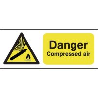 Plastic Or Vinyl Danger Compressed Air Signs
