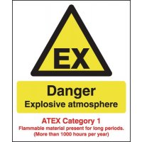 Danger Explosive Atmosphere Signs For Category 1 Risk Environments