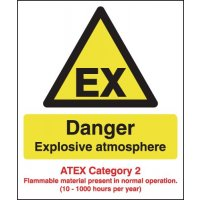 Mandatory 'Danger Explosive Atmosphere – Atex Category 2' Health and Safety Signs