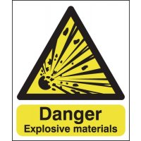 Explosive Materials Warning Sign in Durable Materials