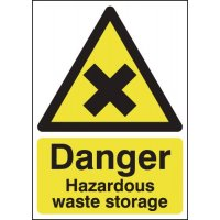 Durable 'Danger Hazardous Waste Storage' Health and Safety Signs