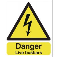 Vital live busbars electrical hazard signs