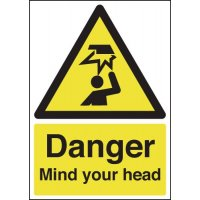 Essential danger mind your head safety signs