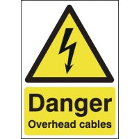 H & S compliant hazard signage warning danger overhead cables
