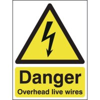 Black and yellow signage warning of overhead live wires