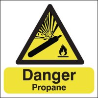 Hazard signs stating danger propane