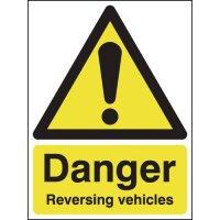 Plastic danger reversing vehicle signs