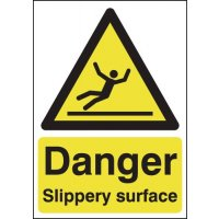 "Durable, Lightweight ""Danger - Slippery Surface"" Plastic Warning Sign"