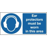Ear Protectors Must Be Worn... Double-Sided Hanging Signs