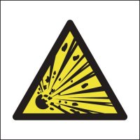 Self-adhesive 'Explosive Hazard' Symbol Signs