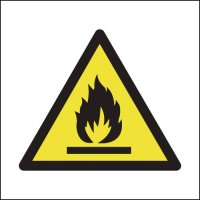 Self adhesive vinyl flammable symbol signs