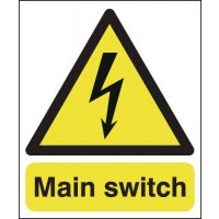 Self-adhesive 'main switch' signs