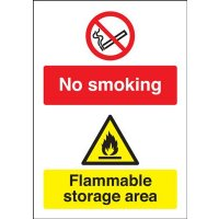 Universal no smoking flammable storage area signs