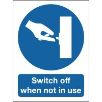 Self-adhesive 'switch off when not in use' safety sign