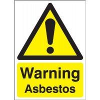 Bright, self-adhesive warning asbestos signs