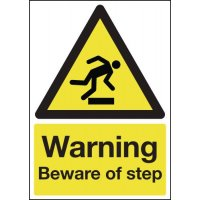 Warning Beware Of Step' Black And Yellow Hazard Signs