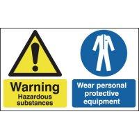 Hazardous substances / wear personal protective equipment (PPE) multi message-signs