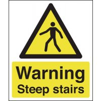 Plastic Or Vinyl Warning Steep Stairs Signs