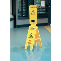 Triple Floor-Standing Yellow Sign for Wet Floors