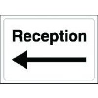 Reception' Sign with Left Arrow in Rigid Plastic or Vinyl